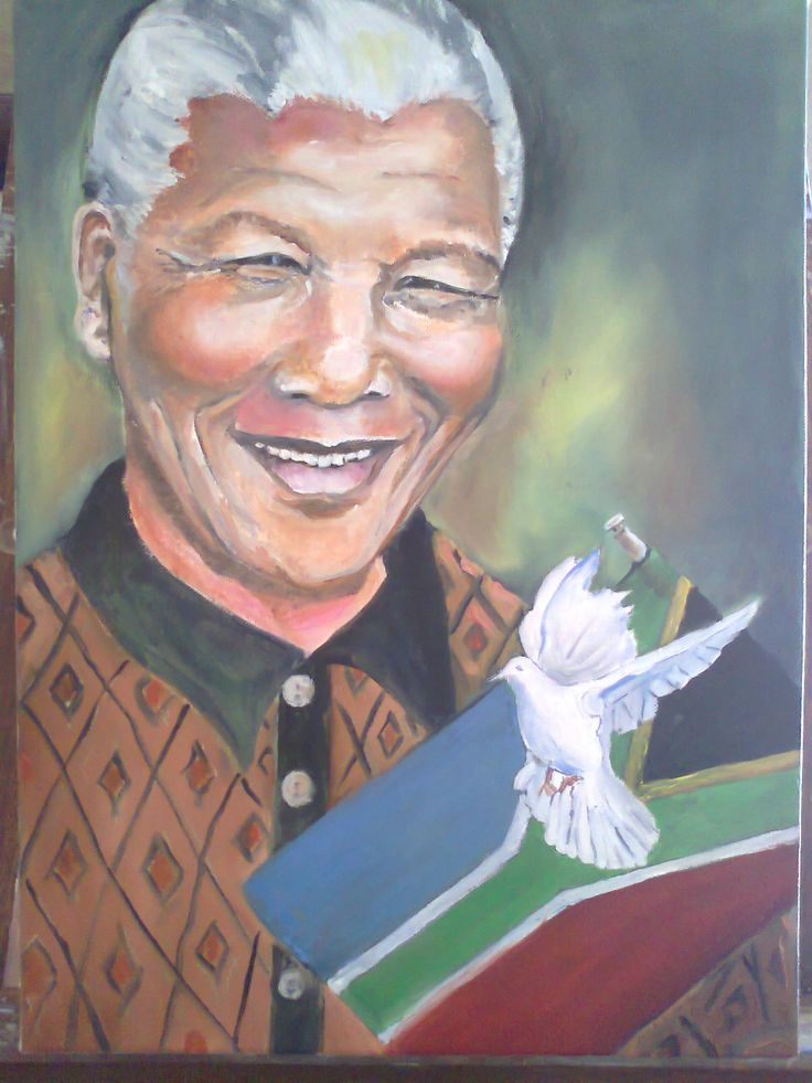 My oil painting of Mandela - all about peace, forgiveness and reconciliation.  www.artitarti.co.za