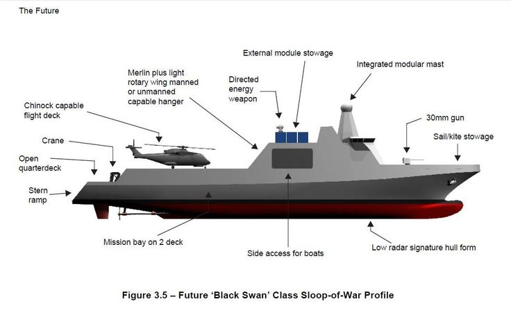 Future 'Black Swan' Class Sloop-of-War: A Group System: The future 'Black Swan' class sloop-of-war  will act as the core for a group of manned and unmanned platforms which, as an integrated system, will provide the units of power required by those surface protection. At an acceptable financial cost, the sloops will provide both the quantity of platforms and the quality of systems.