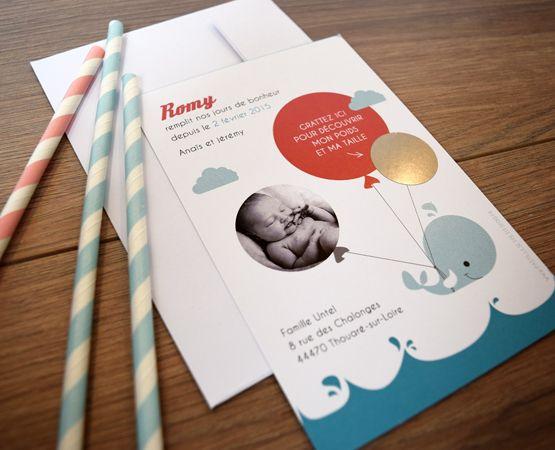 faire-part naissance avec pastille à gratter, thème mer et petits bateaux, baleine et ballons