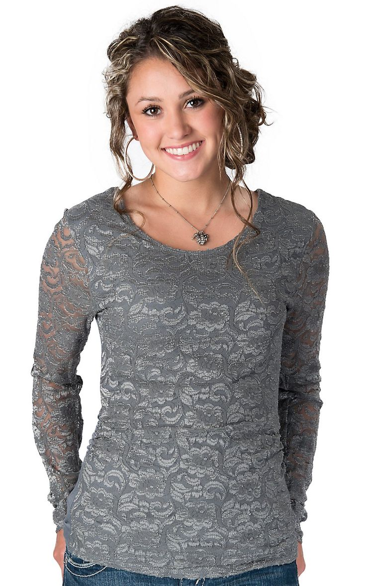 Panhandle Slim® Women's Charcoal Lace & Knit Long Sleeve Top