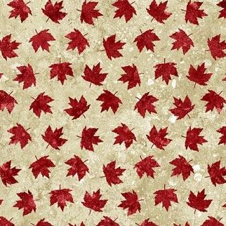 Stonehenge - Oh Canada - Maple Leaves on Beige