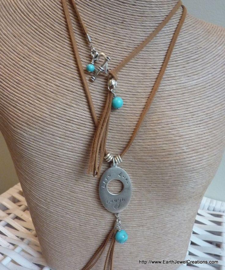 "Turquoise ""Affirmation"" Double Pendant - handmade crystal energy gemstone jewellery Earth Jewel Creations Australia"
