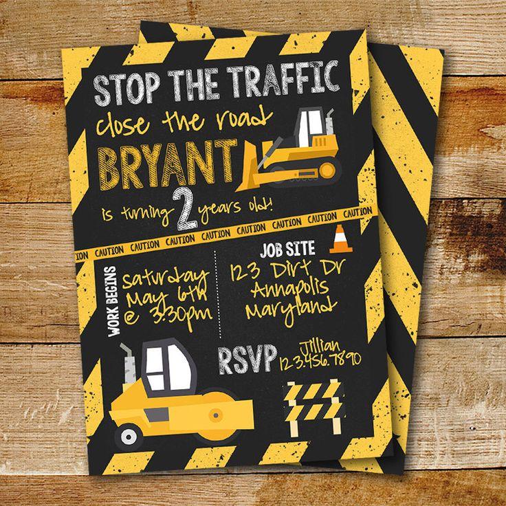 Construction Birthday Party Invitation | Truck Birthday | boy birthday invitation by cardsbycaldwell on Etsy