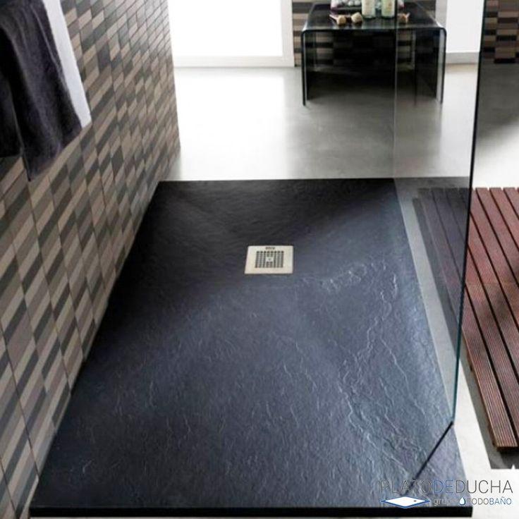 Plato de ducha de Resina y Carga Mineral en color negro y textura pizarra. Uno de nuestros platos de ducha más vendidos que podemos hacerte totalmente a medida #platosdeducha