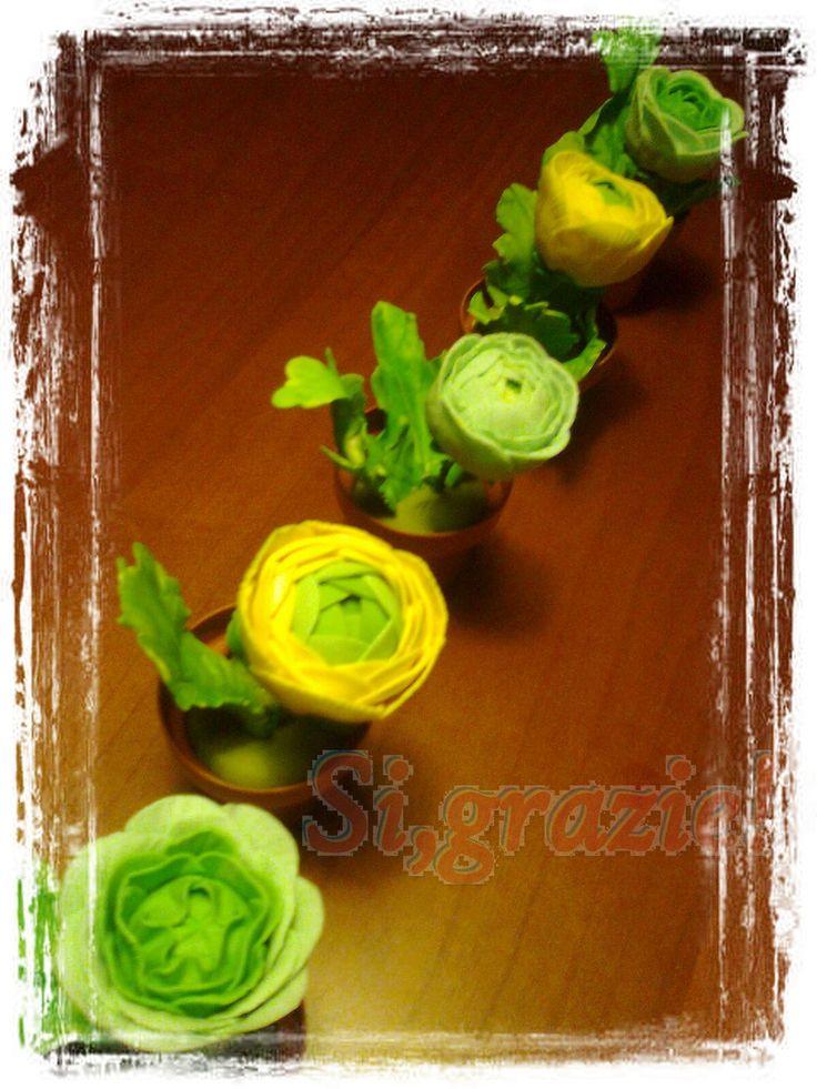 Vasetti di ranuncoli per pranzo all'aperto 06 2015