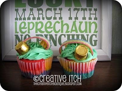 St. Patricks DayDesserts, Cupcakes Ideas, Marching St Patricks, Cooking, Parties Ideas, Holiday St Patricks, Rainbows Cupcakes, Rainbow Cupcakes, Gold Coins