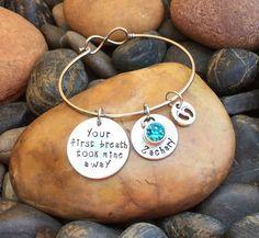 Your First Breath Took Mine Away Bracelet | Mother's Bracelet | Mother's Jewelry | New Mom Jewelry | New Mom Gift | Push Gift | Push Present by SecretHillStudio on Etsy https://www.etsy.com/listing/267136051/your-first-breath-took-mine-away