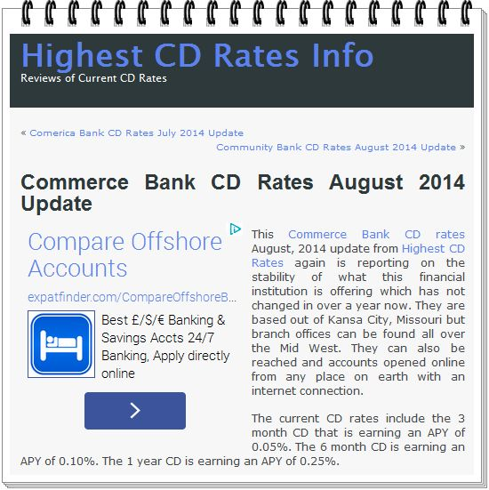 The Banker: Commerce Bank CD Rates August 2014 Update