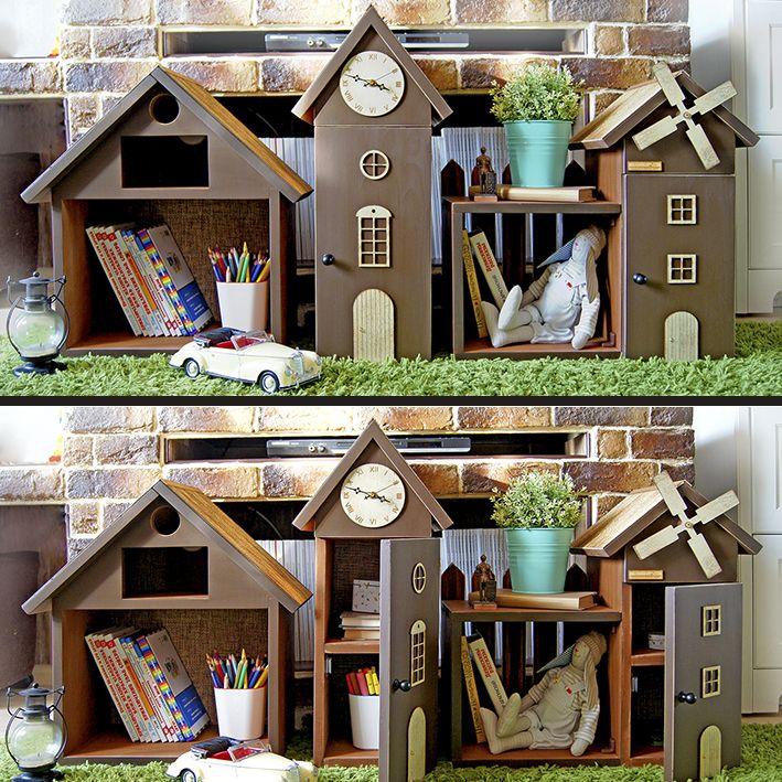 Маленькие шкафчики в виде домиков для оформления детской комнаты.