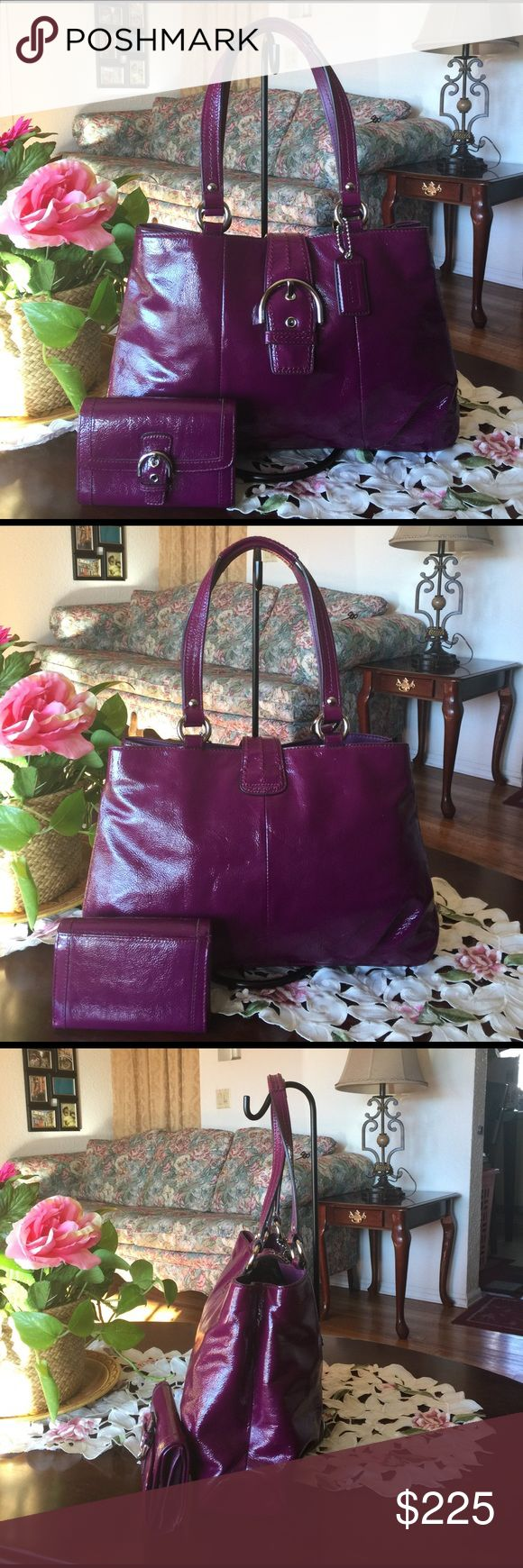 "COACH SOHO PATENT LEATHER PURSE with wallet ,#19711,color:plum with silvertone hardware  The lined interiors feature (3) main compartments.The center zips shut and a flap with the SOHO style buckle and magnetic snap secures all three togetherThere's a zippered pocket inside and two slip pockets. Coach's creed ,Inverted pleats on both the front and back near the bottom, and (4) protective 'feet' on the bottom.Demension:15"" (L) x 9.5"" (H) x 4.75"" (W). Strap drop 8.5"" little ink mark on the…"