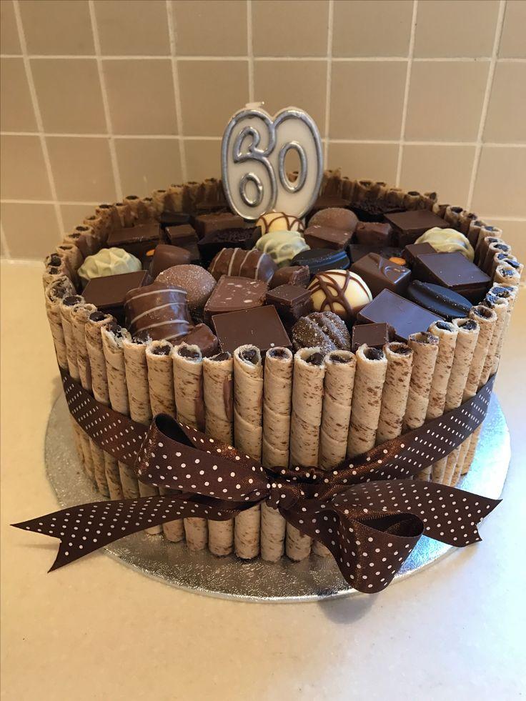 60th Birthday chocolate wafer cake