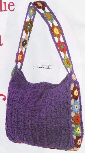 Purple purse with diagrams
