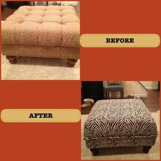 how to recover an ottoman without sewing 2