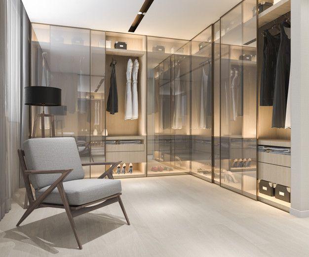 3d Rendering Minimal Scandinavian Wood Walk In Closet With Wardrobe In 2020 Dream Closet Design Modern Closet Designs Walk In Closet Design