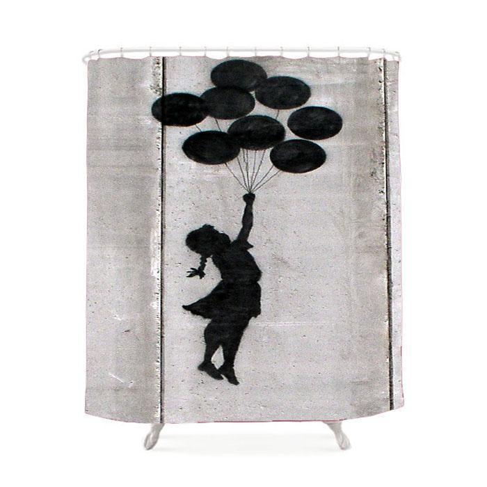 Banksy Balloon Girl Shower Curtain Girls Shower Curtain