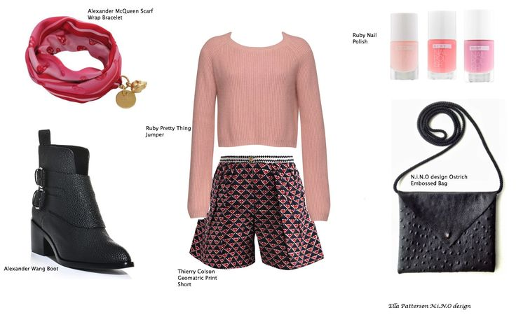 Pink delightsfeaturing Alexander McQueen, Alexander Wang, Ruby, Thierry Colson and N.i.N.O design. A combination of pinks and reds with gold, black and white in silk, wool and leather.