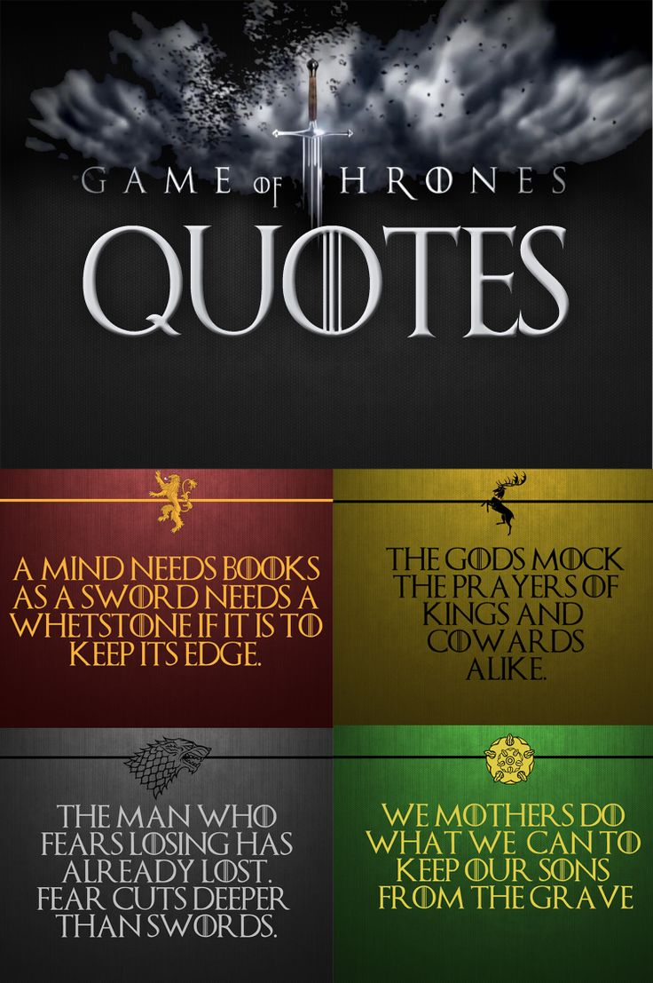15 page bulletin board of Game of Thrones quotes with house sigils and colours.