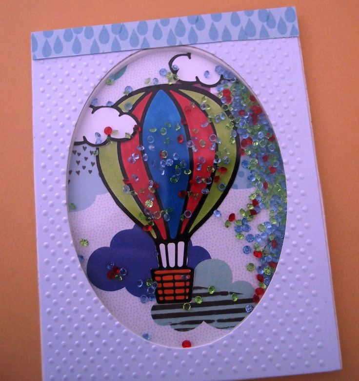 Shaker Greeting Card - Hot Air Balloon by PaperHydrangea on Etsy
