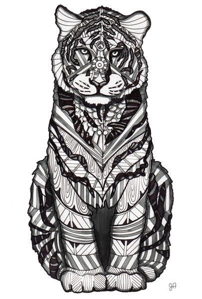 62 best zentangle animals images on pinterest mandalas - Mandalas de tigres ...