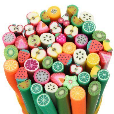 50 canes fimo 3D nail art manucare ongle déco de autocollantes relief ongles Fruits:Amazon.fr:Parfum et Beauté