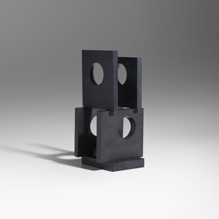 Lot 5: Barbara Hepworth 1903–1975. Four-Square (Four Circles). 1966, black slate. 11 h x 5½ w x 5 d in. estimate: $150,000–200,000. Incised signature and date to base 'BH 66 A'. This work is number 1 from the edition of 3. Provenance: Estate of the artist | Acquired in 1999 from Waddington Galleries, London | Private Collection, Connecticut