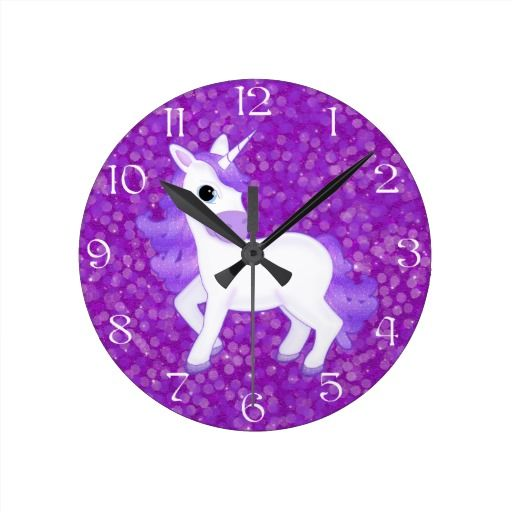 Pretty Clocks | Pretty Purple Unicorn on Glitter Syle Background Clock | Zazzle