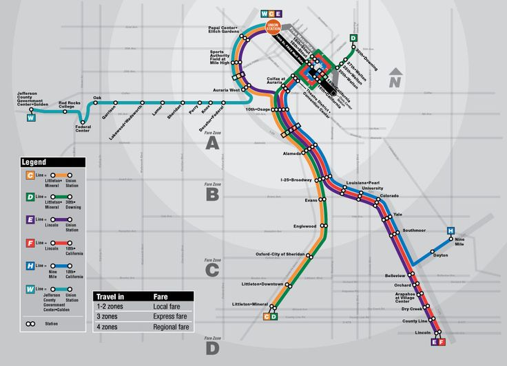RTD Light Rail Map: RTD's light rail system consists of 5 Light rail lines: the C, D, E, F, and W line. The C and D line travel through Denv...