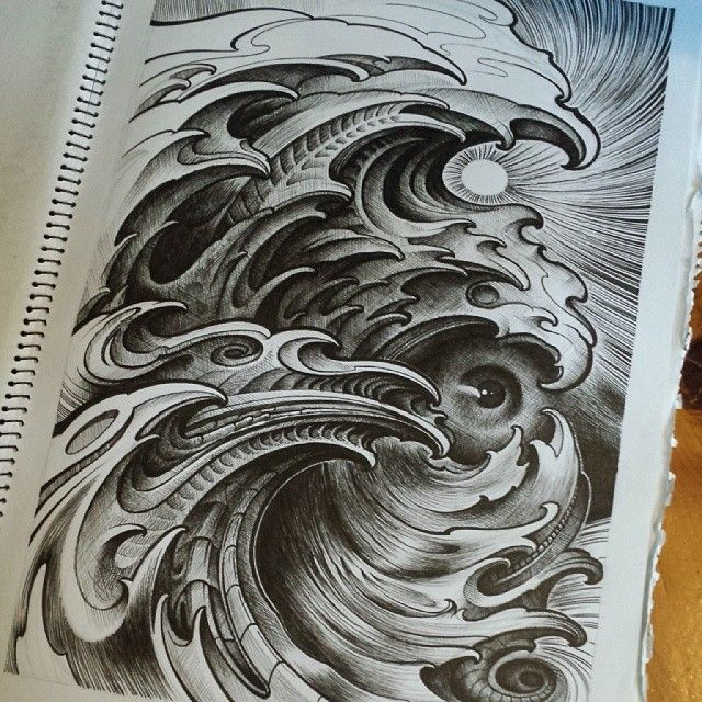 WEBSTA @ trevorbennetttattoo - Just found this old sketch I did years ago ..... INKPIG boardies I'm think'n ?! ..... #trevorbennettart #sydneytattooartist #illustration #waves #INKPIGclothing