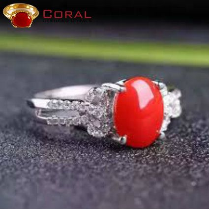 Immerse yourself in a treasure trove of dazzling coral diamond ring