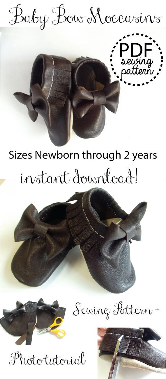 Baby Bow Moccasins Fringe Leather PDF Sewing by simplysmallwonders