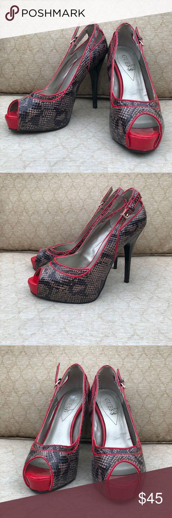 Guess Faux Snakeskin Red High Heel Pumps Diese Schuhe sind gebraucht und zeigen einige …