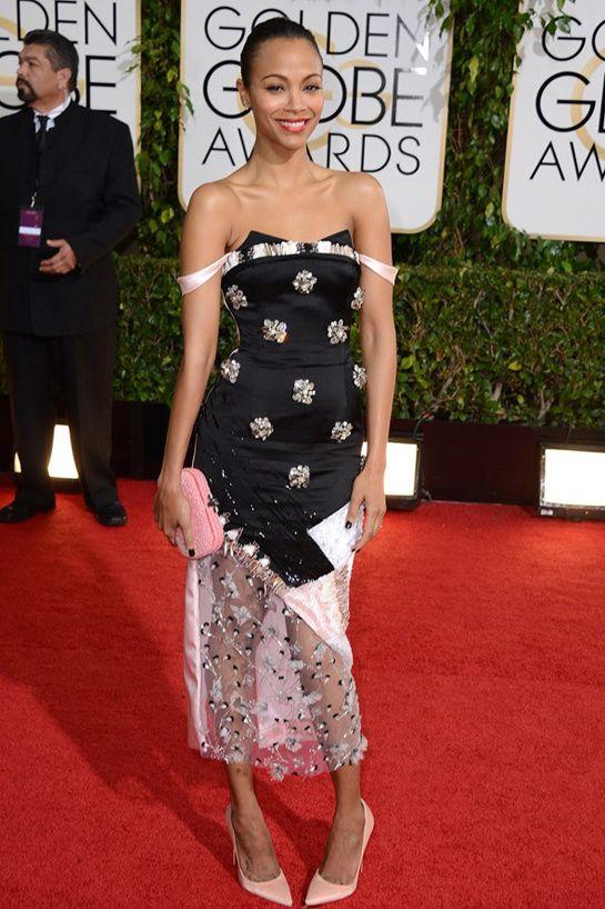 The Golden Globes 2014: Zoe Saldana, Prabal Gurung, Bottega Veneta, Lorraine Schwarz