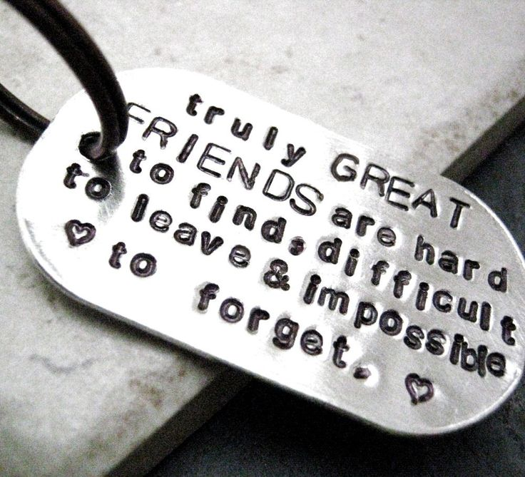 Truly Great Friends Quote Key Chain, great gift for your bff, rounded aluminum dog tag, antique copper split ring, customizable. $22.95, via Etsy.
