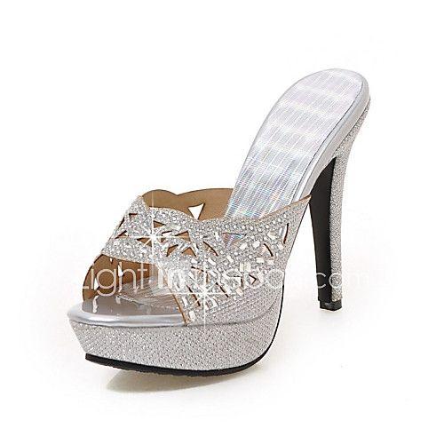 Mujer-Tacón Stiletto-Confort Zapatos del club-Sandalias-Boda Oficina y Trabajo Vestido Informal Fiesta y Noche-Purpurina Materiales 2017 - $29.44