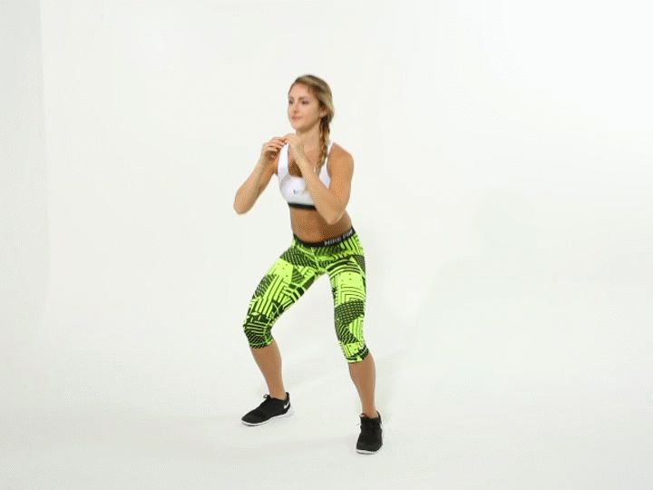 Add some cardio to the 30-day squat challenge with the pop squat.