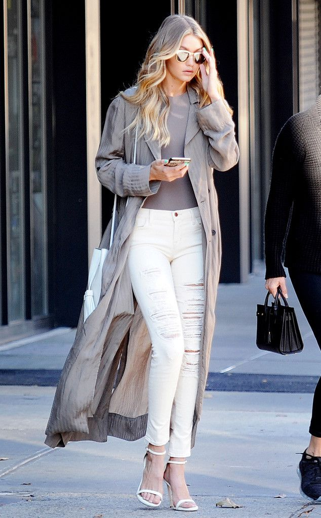 Gigi Hadid from Celebs in Coats The almost-Angel steps out just days before her debut Victoria's Secret Fashion show in a loose gray duster over a Zachary the Label bodysuit.