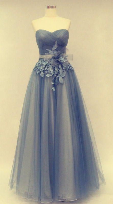 A-Line Prom Dress,Prom Dress with Flowers,Tulle Prom Dress,Sweetheart Prom Dress
