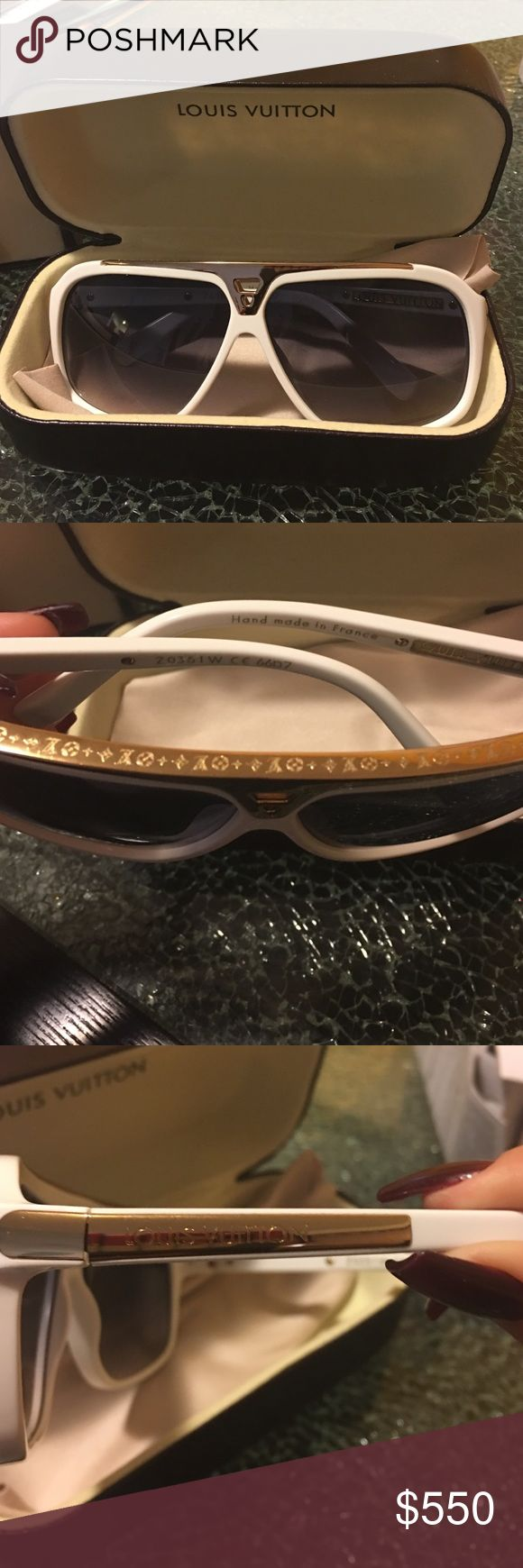 Louis Vuitton evidence shades (white) Brand new never worn . Comes with all original packaging . 100% authentic . Accessories Glasses