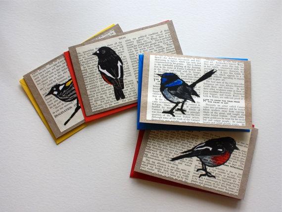 Lino Print Robin and Wren Cards Handmade Pack of 4 Designs. $18.00, via Etsy.