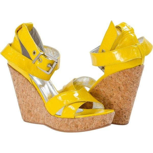 PAOLO IANTORNO Hope Patent Leather Criss-Cross Wedge Yellow (545 PEN) ❤ liked on Polyvore featuring shoes, yellow, yellow shoes, platform wedge shoes, yellow patent leather shoes, yellow wedge shoes and strappy wedge shoes