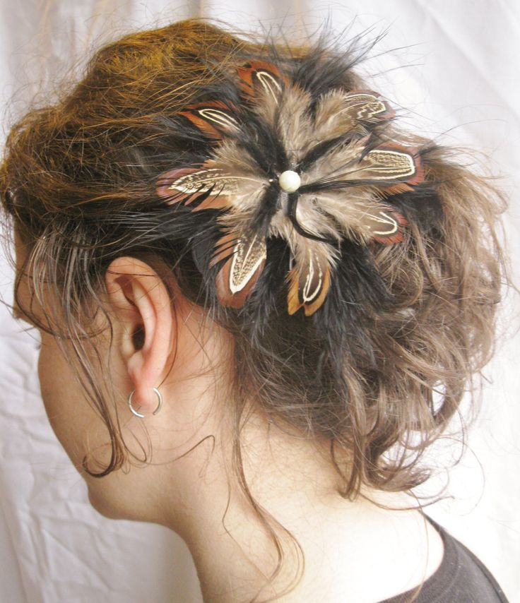 Natural Grouse And Black Feather Flower Fascinator, Hairpiece, Clip, Accessories by PeachesPlumageWorks on Etsy