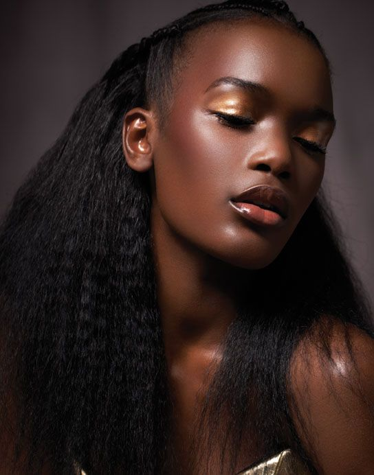 Beautiful afro black hair and make-up