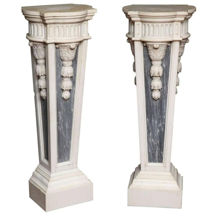 Pair Of 1stdibs Pedestals / Columns – Style Two-Toned Carrera Grey French Louis Xvi Marble