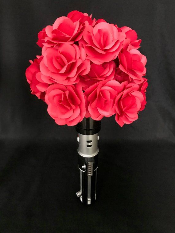 Geek Wedding, Paper Flower Bouquet, Paper Flowers, Paper Bouquet, Sci Fi Wedding, Red Bouquet, Red Rose Bouquet, Red Flowers, Theme Wedding