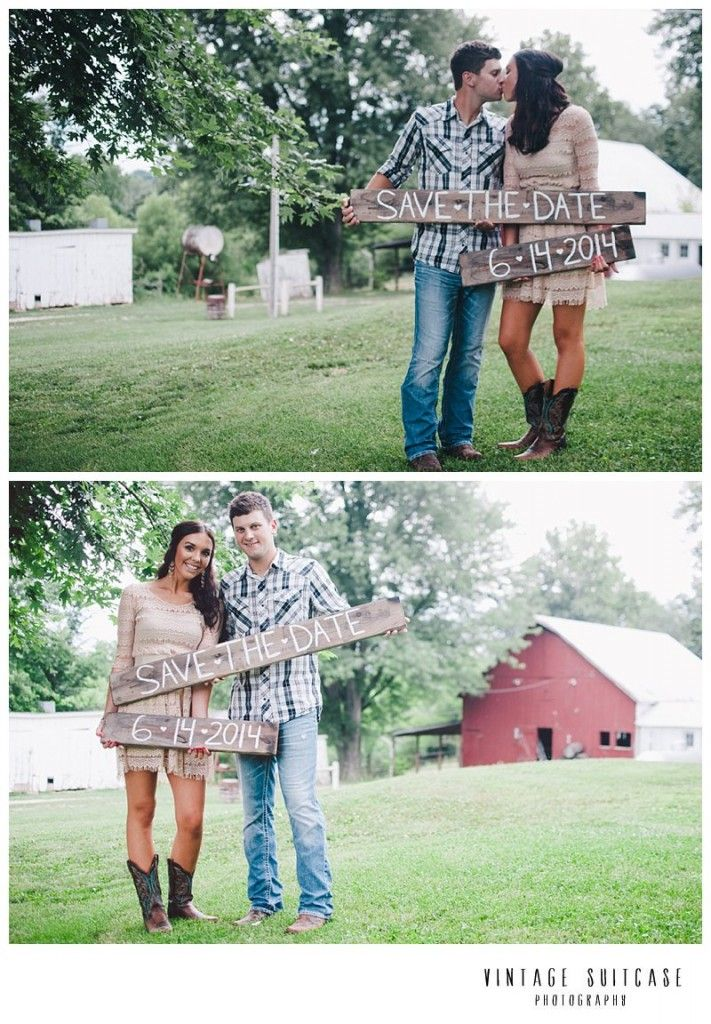 Rustic, Americana, Country engagement session with DIY save the date sign.