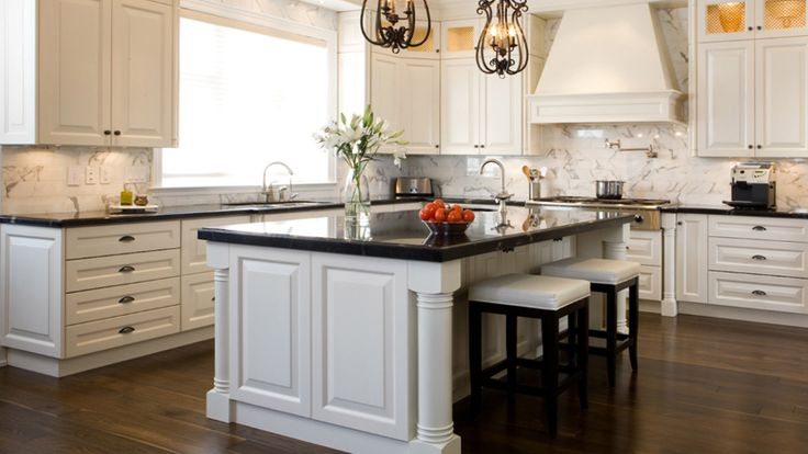 Love the island w/ prep sink | Antique white kitchen ...
