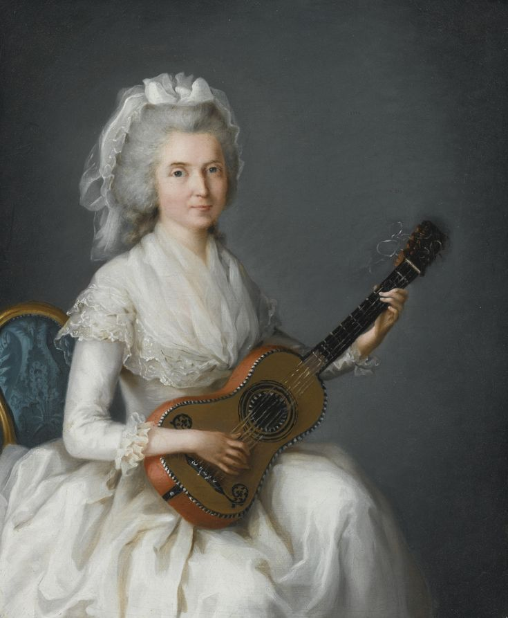 Circle of Charles Lepeintre  PORTRAIT OF A LADY, THREE-QUARTER LENGTH, IN A WHITE GOWN AND LACE CAP, SEATED AND PLAYING A MANDOLIN oil on canvas | sotheby's