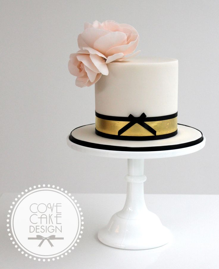 Make cake white. Grey thick ribbon and thin coral. Very light pink or white (real) peonies.