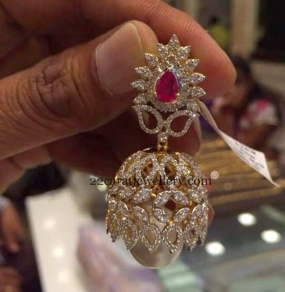 Jewellery Designs: Spectacular Jhumka in Diamonds: