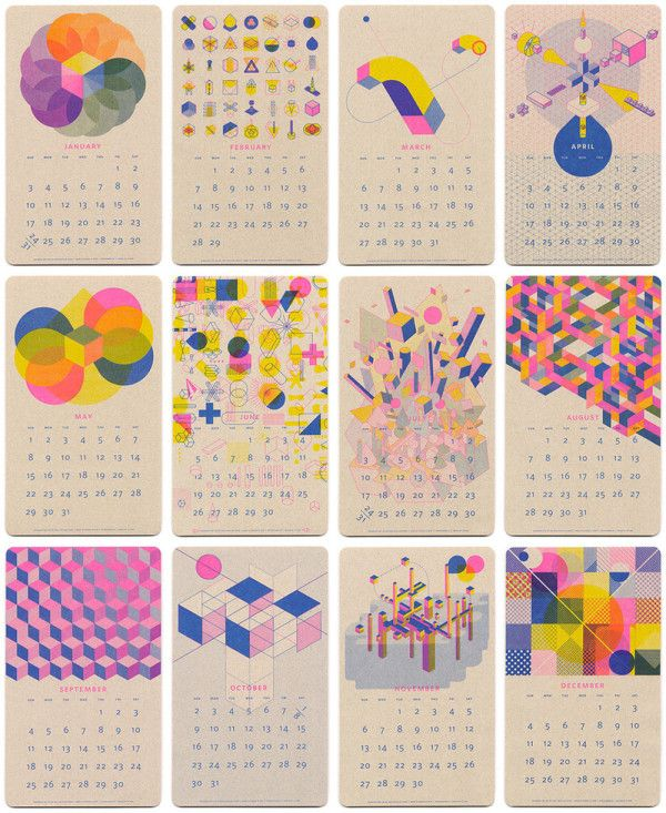 2016 Isometric Risograph Calendar by JP King